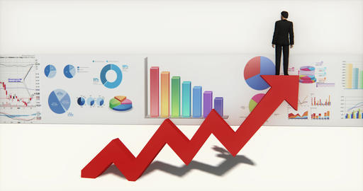 4k businessman standing on the top of positive trend arrow,finance pie charts Footage