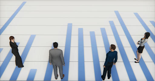 4k business team standing on the finance pie charts & stock trend diagrams Live Action