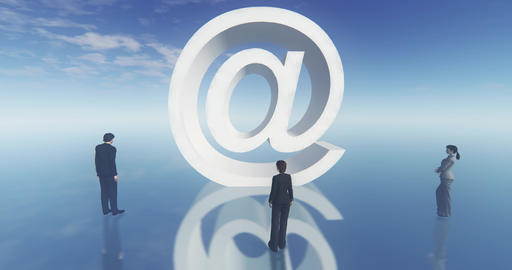 4k at sign email symbol,business man around the symbol,web tech Footage
