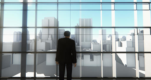 4k a businessman standing on the front of windows & outlook business building Footage