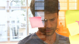 Male executive reading sticky notes Live Action