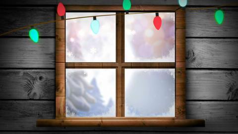 Illustration of christmas greeting with christmas lights Footage