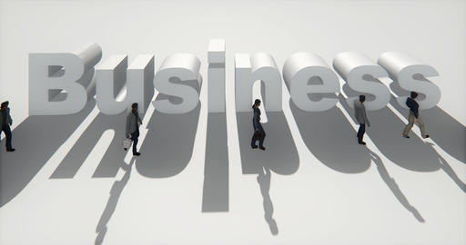 4k business people walking on the front of 3d business sign Footage