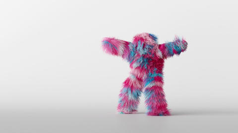 3d character hairy beast dancing, person wearing furry costume, funny mascot looping animation Animation