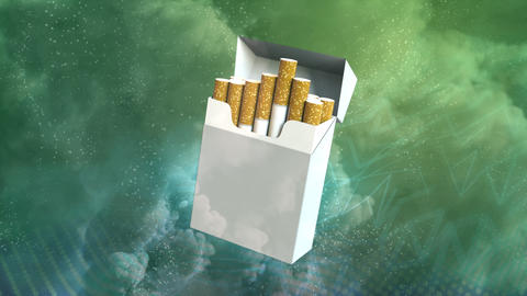 Cigarettes pack spin on smoke background, cg industrial 3D rendering Animation