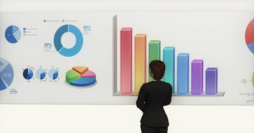4k business team analyze finance pie charts & stock trend diagrams Live Action