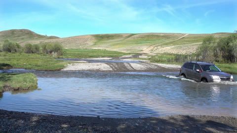 Car Crossing River Footage