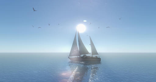 4k sailboat sailing in the sea,shine sun & flying Seagull,wide ocean surface Live Action