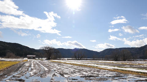 Images of a Japanese farming village in winter with snow on the ground Live Action