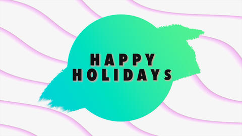 Animation intro text Happy Holidays on white fashion and minimalism background with geometric lines Animation