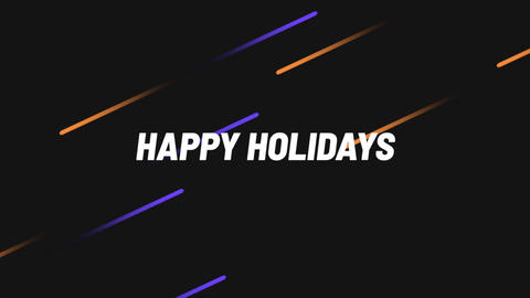 Animation intro text Happy Holidays on black fashion and minimalism background with geometric lines Animation