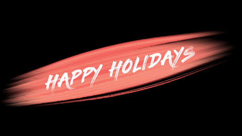 Animation intro text Happy Holidays on red fashion and brush background Animation