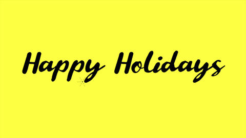Animation intro text Happy Holidays on yellow fashion and minimalism background Animation