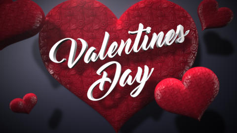 Animated closeup Valentine Day text and motion small red romantic heart on Valentine day shiny Animation