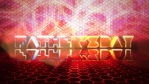 Animation text Fathers day and motion red neon hexagon shapes, abstract holiday background Animation