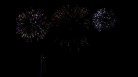 Colorful fireworks set on isolated black background. Event and party concept Animation