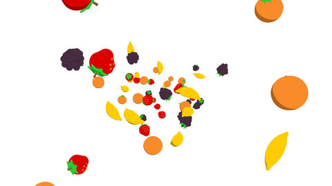 fruits flying3 Animation
