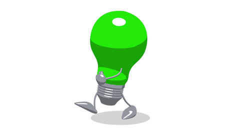 lightbulbgreenwalk 02 Stock Video Footage