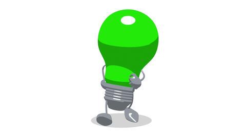 lightbulb toon walk1 Stock Video Footage