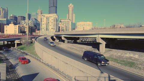 Highway Onramp Skyline Footage