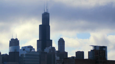 Sears Tower in Clouds Footage