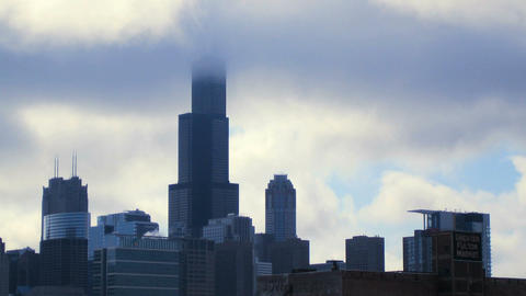 Sears Tower in Clouds Stock Video Footage