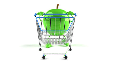 shopping cart apple 1 Stock Video Footage