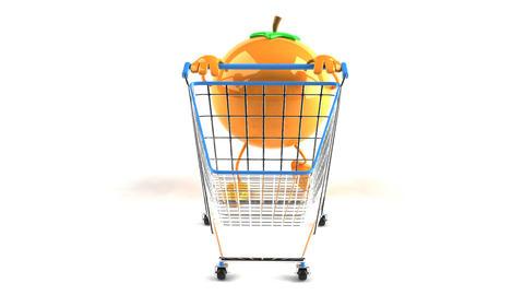 shopping cart orange 1 Stock Video Footage