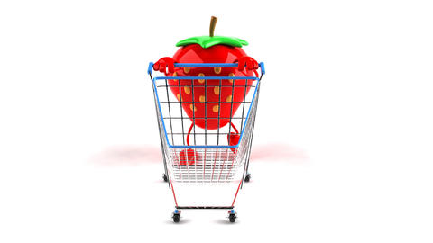 shopping cart strawberry 1 Stock Video Footage