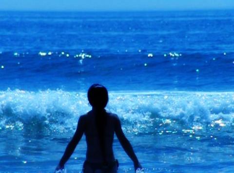 Playing in ocean waves Footage