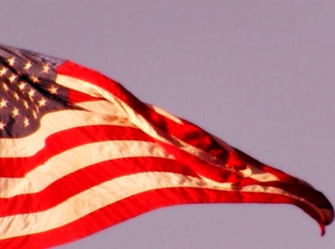 American Flag Sunset 05 Loop Stock Video Footage