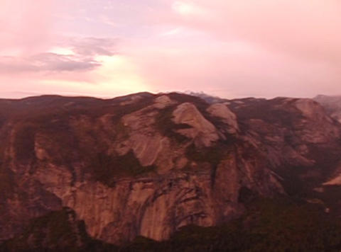 Glacier Point Panorama Sunset Pan 2 Footage