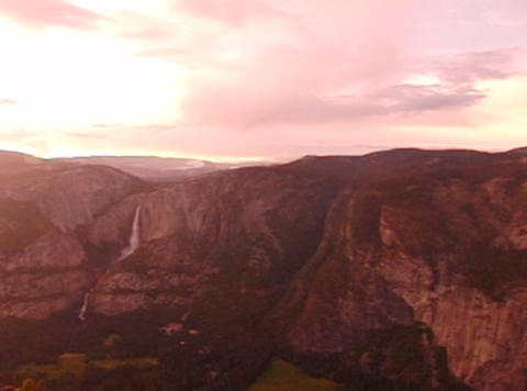 Glacier Point Panorama Sunset Pan 2 Stock Video Footage