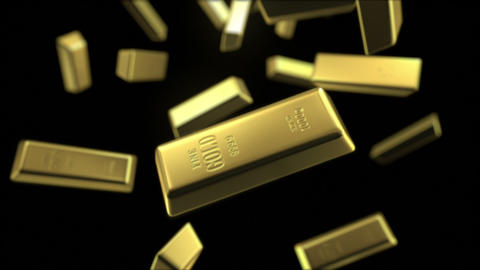 rain of gold bars Stock Video Footage
