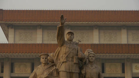 china beijing revolutionary martyrs memorial sculpture & maozedong memorial Footage