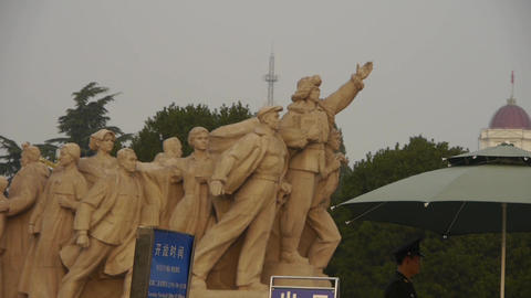 china beijing revolutionary martyrs memorial sculpture,communism security guard Footage
