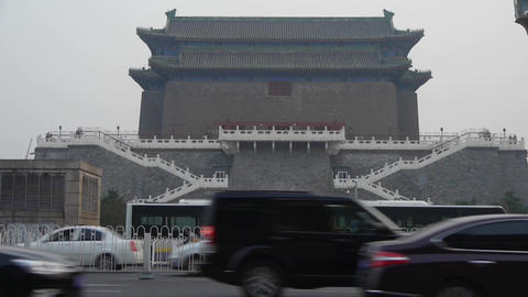 Beijing ancient building & busy traffic in china Footage