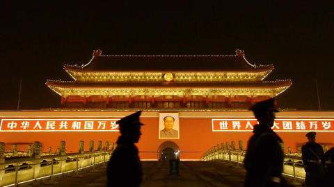 police stand guard in front of Tiananmen Beijing China,Forbidden City Footage