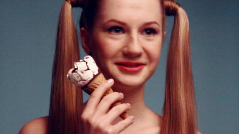 Beauty girl with icecream Stock Video Footage