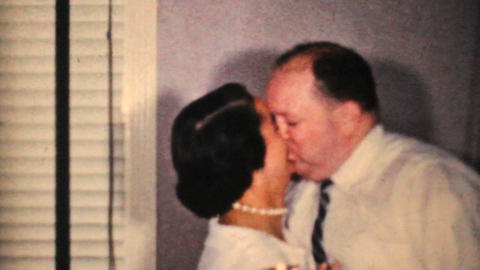 Couple Kissing At New Years Party 1964 Vintage 8mm film Stock Video Footage
