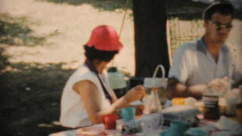 Family Enjoying A Picnic At The Park 1964 Vintage 8mm film Stock Video Footage