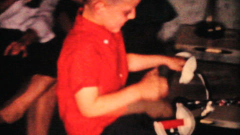 Kids At Christmas 1964 Vintage 8mm film Stock Video Footage