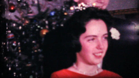 Teenage Girl In Her Red Christmas Dress 1964 Vintage 8mm... Stock Video Footage