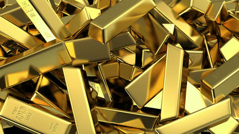 falling gold bars fills the screen Stock Video Footage