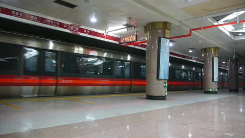 Beijing subway station,busy people crowd inside of train in modern urban city Footage