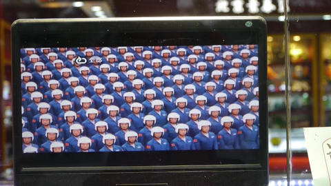 TV in store showcase,China Parade video program Stock Video Footage