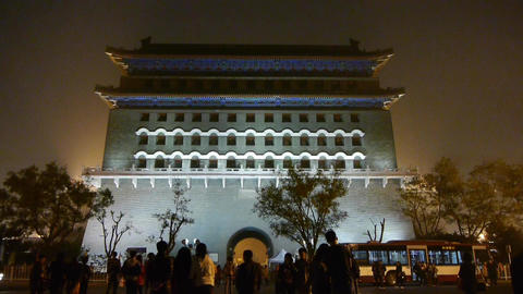 Beijing ancient building night scene,busy traffic &... Stock Video Footage
