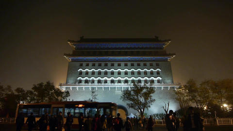 Beijing ancient building night scene,timelapse busy traffic & crowd Footage