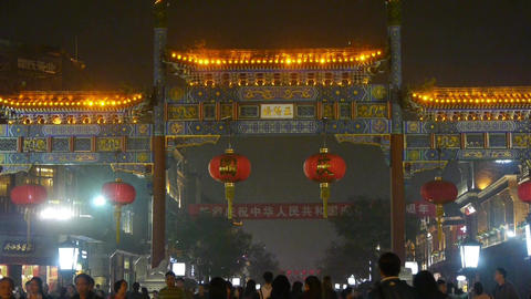 Crowd Walk on Chinatown,China Beijing night market,Neon... Stock Video Footage