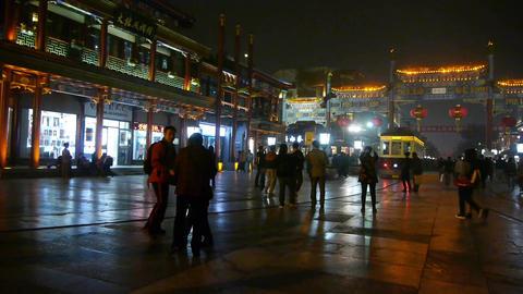 timelapse running tram & people walk on... Stock Video Footage